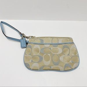 Coach wristlet baby blue and taupe
